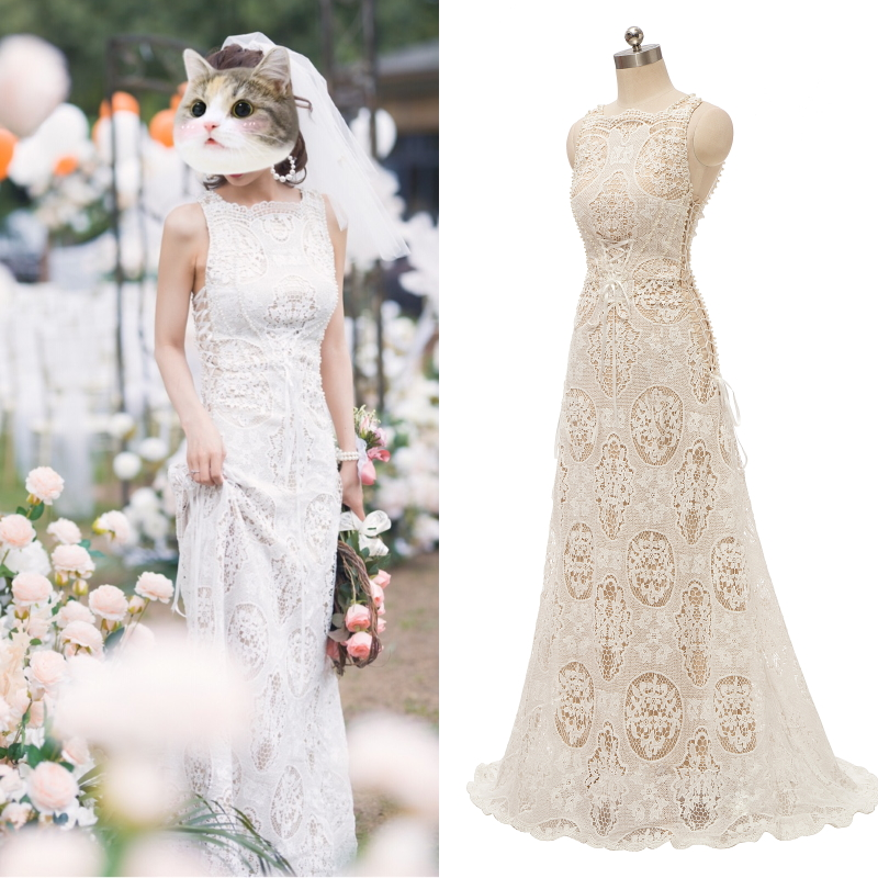 REAL PHOTO Lace Bridal Gown Bride Wedding Dress Vintage Boho Bohemian Champagne Factory Cheap Price
