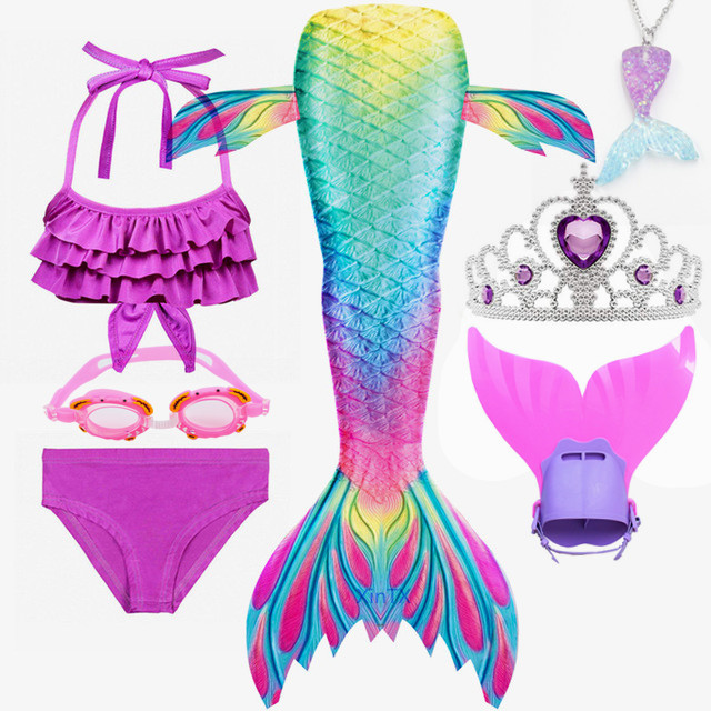 Mermaid Tail Swimmable Costume Swimsuit for Kids Girls Swimming Cospaly Outfit