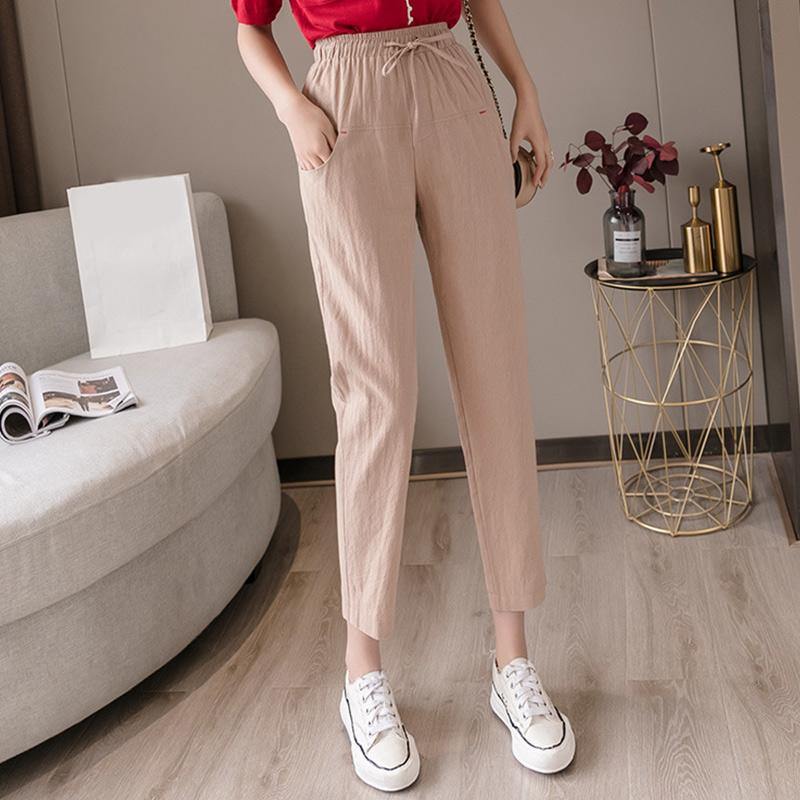 Women's Cotton And Linen High Waist Pants Spring Summer Lace Up Elastic Ladies Cozy Trousers 2020 New Plus Size Female Trouser