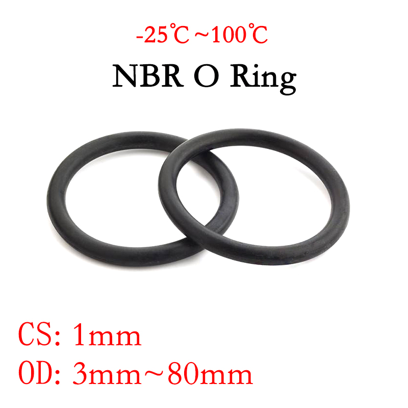 Espessura da gaxeta do selo do anel do nbr o 50pc cs 1mm od 3 80 80mm nitrilo butadiene borracha do espaçador arruela da resistência do óleo forma redonda preto
