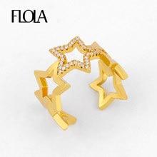 FLOLA CZ altın dolu yıldız açık yüzükler kadınlar için ile kristal ayarlanabilir manşet yüzükler açacağı kübik zirkonya bildirimi takı rigj35