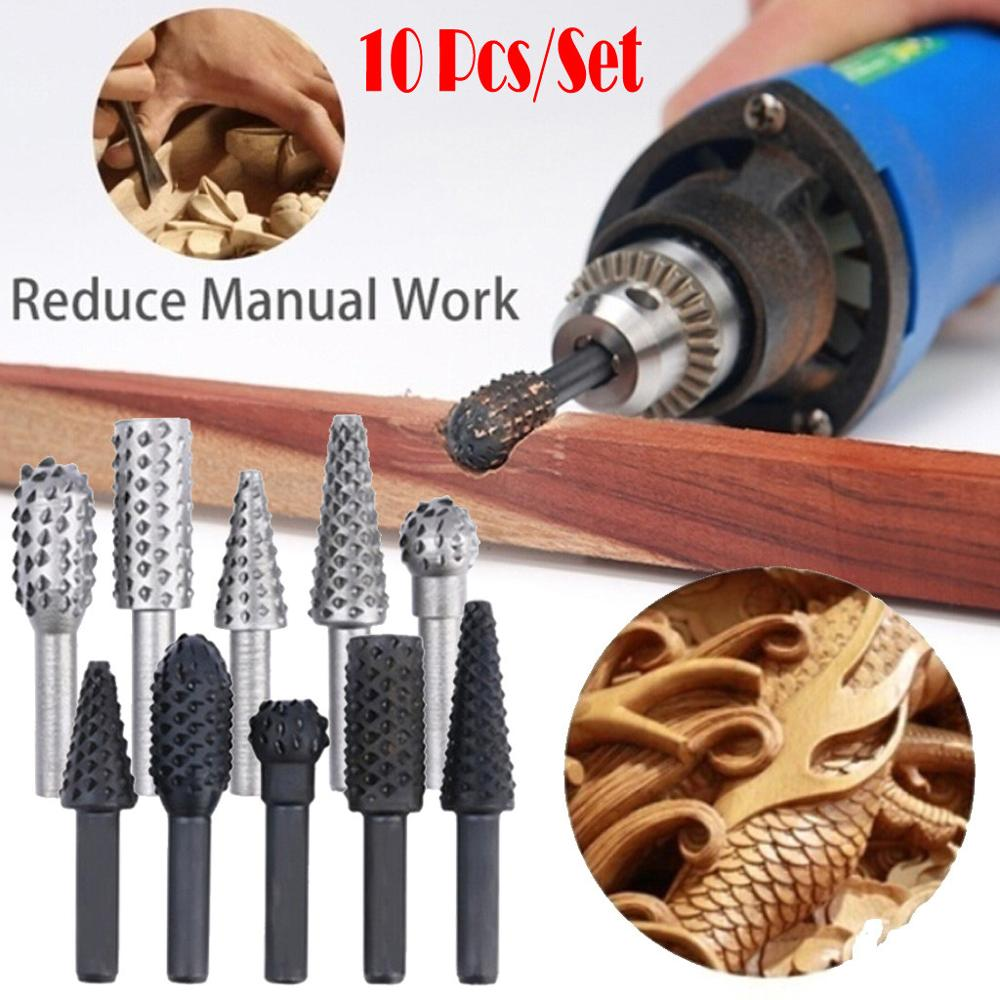 Rotary Files Burr Drill Rotating Thorn Head 10pcs/set Polishing Accessories DIY Electric Grinding Head Woodworking Tools