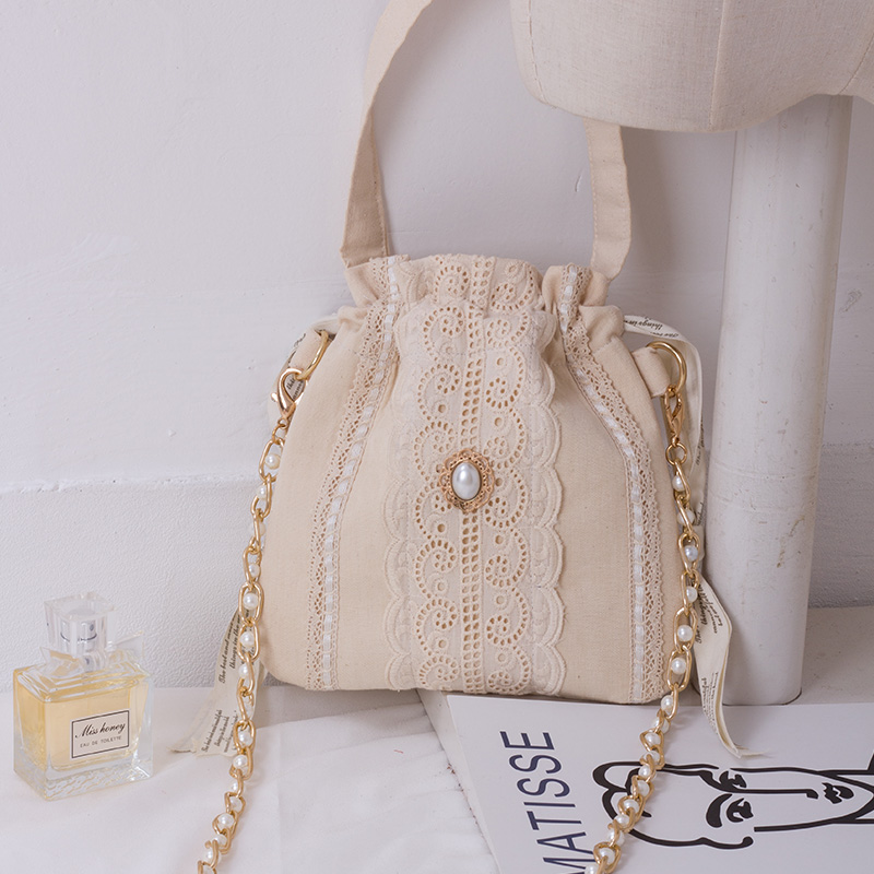 Angelatracy 2019 New Arrival Elegent Diamond Pearl Lace Beige Chain Totes Lunch Women Messenger Crossbody Bags Drawstring Bag