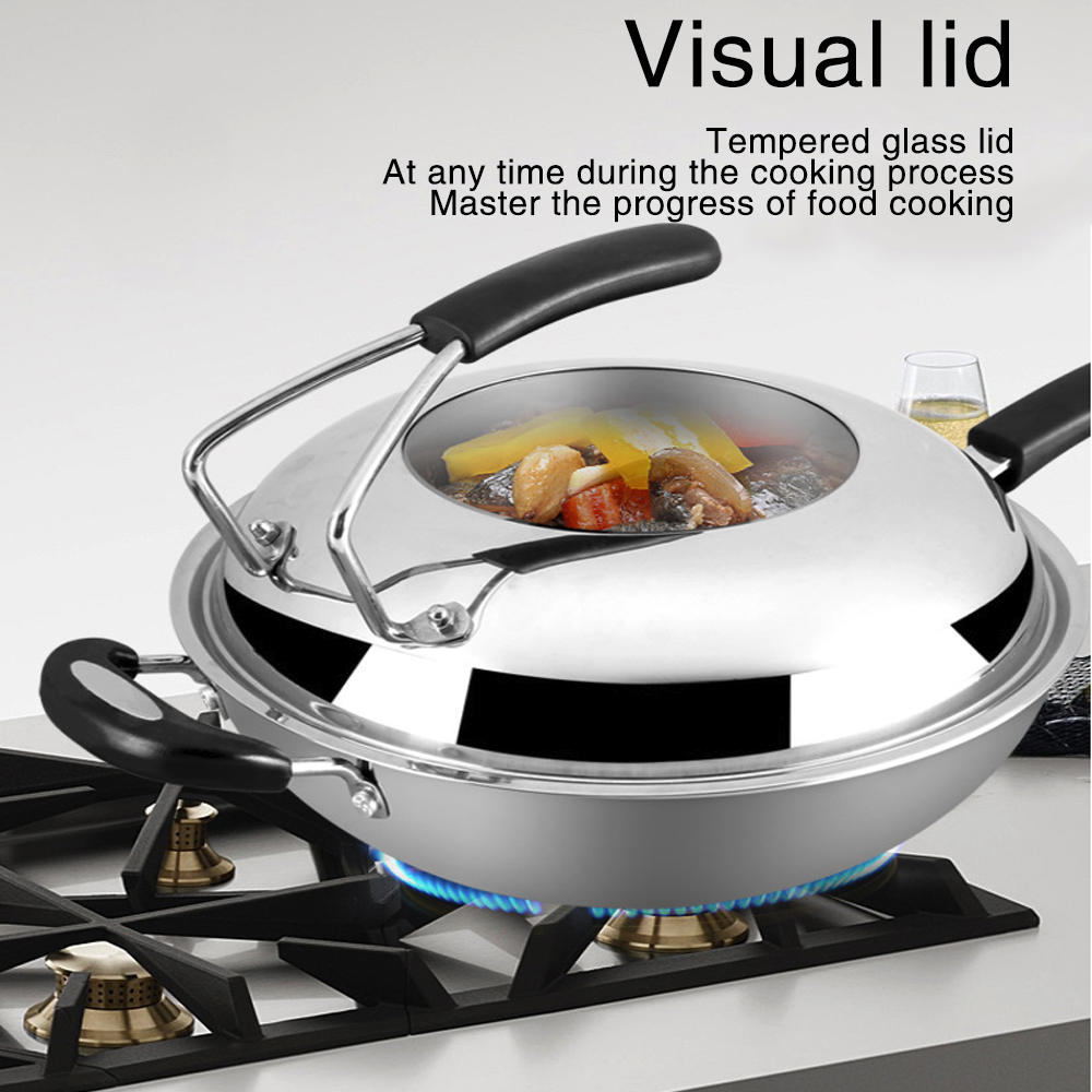 34cm 304 Stainless Steel Eco-Friendly Non-Stick Smokeless Wok
