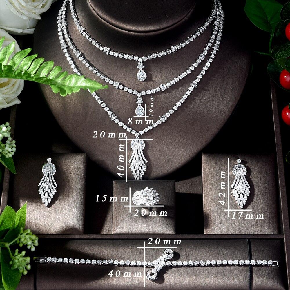 HIBRIDE Vintage circón cúbico 4 piezas conjunto de joyas piedra brillante grande nupcial boda joyería conjunto bijoux mariage parure N 1122 - 2