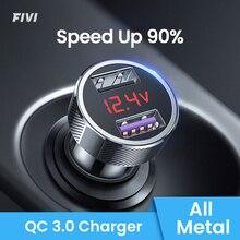 휴대 전화 빠른 충전기 QC 3.0 에 대 한 FIVI 자동차 충전기 삼성 xiaomi 아이폰 화웨이에 대 한 디지털 LED 전압 표시 usb 충전기