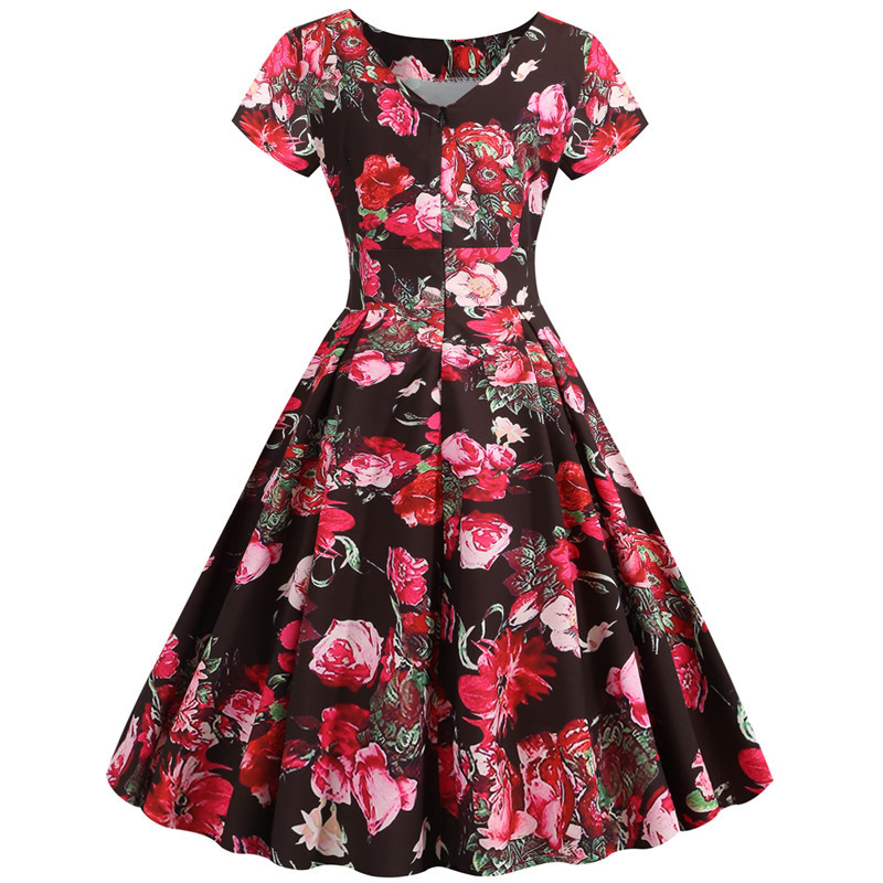 Summer Floral Print Elegant A-line Party Dress Women Slim White Short Sleeve Swing Pin up Vintage Dresses Plus Size Robe Femme 277