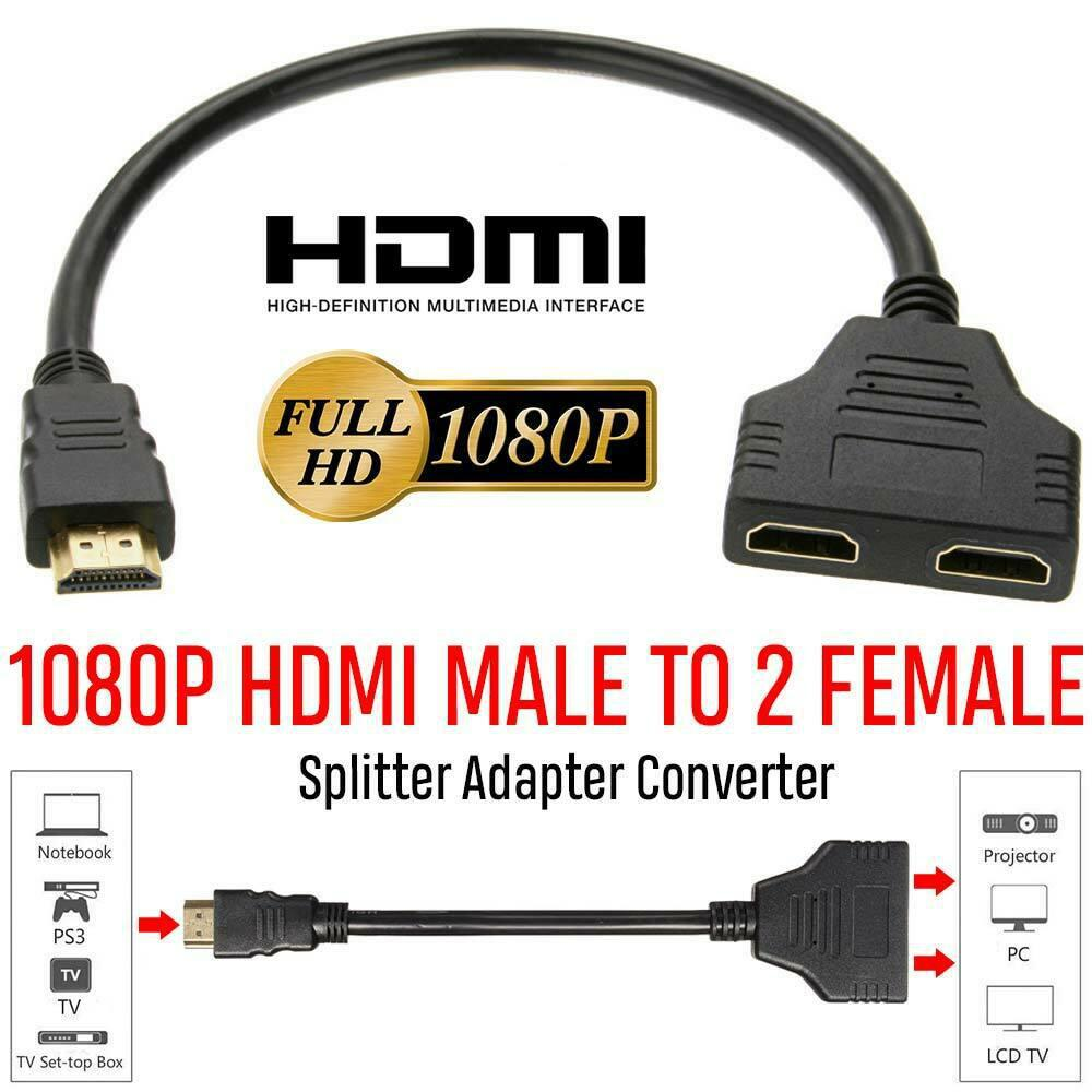 1080P HDMI Splitter Cable 1 Male To Dual HDMI 2 Female Y Splitter Adapter 1 In 2 Out Converter For HDMI LED LCD HDTV Projector