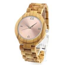 Dropshipping, reloj de mano para mujer canadiense con esfera de Metal dorado rosa, madera de Fresno Olivo, relojes con personalización
