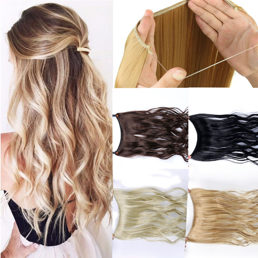 Allaosify  100g Wave Hair Extensions Invisible Ombre Bayalage Synthetic Natural Flip Hidden Secret Wire Crown Grey Pink Hair