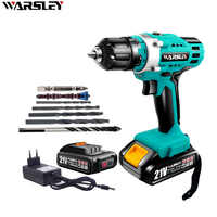 21V Cordless Drill Lithium-Ion Battery Electric Screwdriver DIY Wireless Electric Drill Lithium-Ion Battery Power Tools 2-Speed