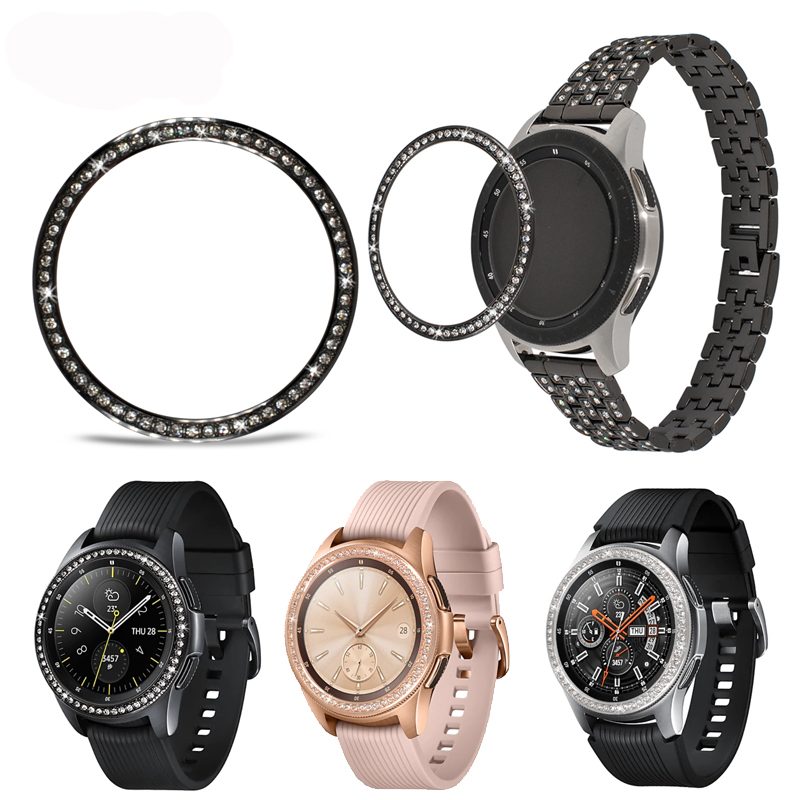 Gear S3 For Samsung Galaxy Watch 46mm 42mm active gear s3 Diamond Metal Ring Adhesive Cover Anti watch Accessories
