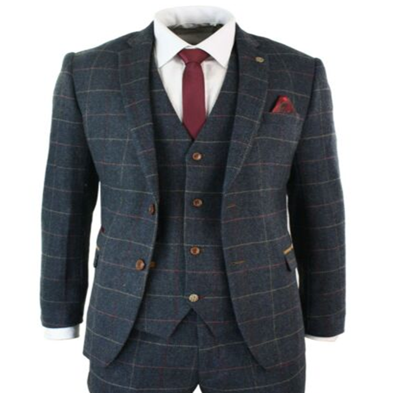 2020 Navy Blue Mens Suits Wine Check Herringbone Tweed Vintage 3 Piece Costume Homme New Marc Darcy Suit