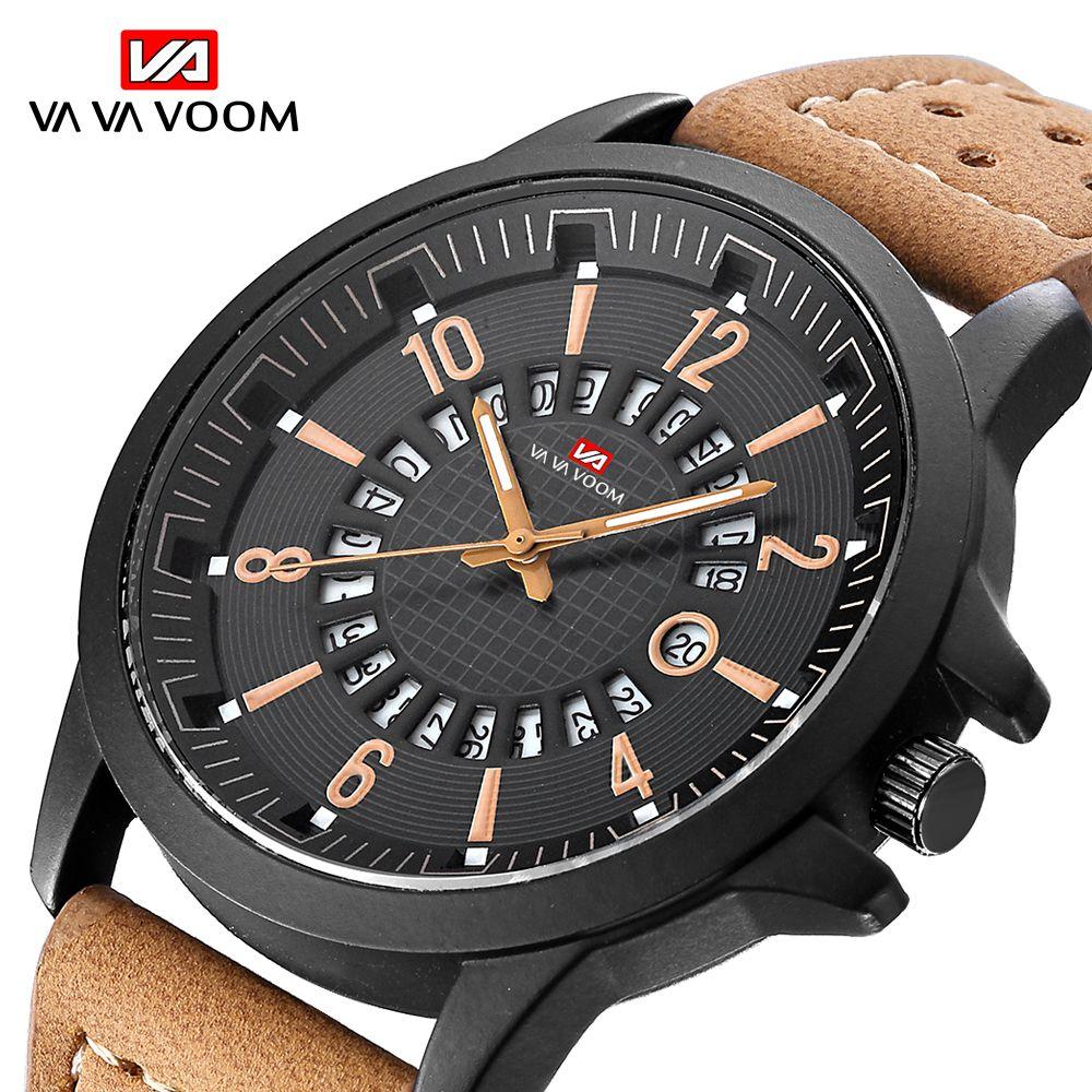 VA VA VOOM Business Men Watch clock Casual Quartz Watches Waterproof Wristwatch Leather Strap Watch Date Display montre homme