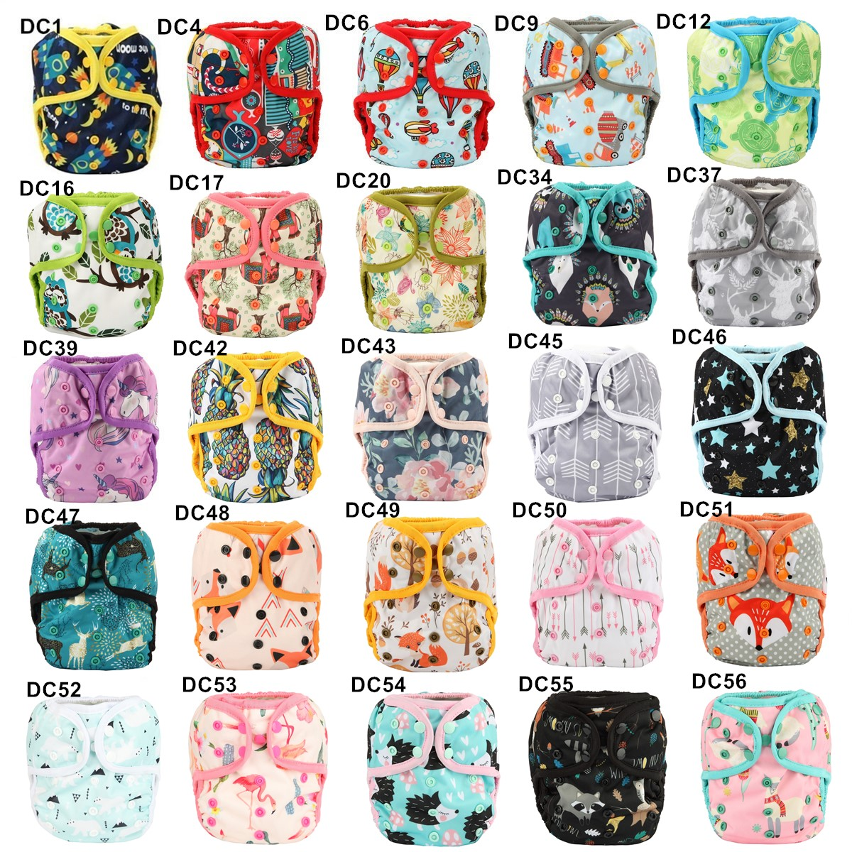 [Sigzagor]1 OS One Size Baby Cloth Diaper Cover Nappy Waterproof Double Gusset 4-13kg 40 Design | Happy Baby Mama