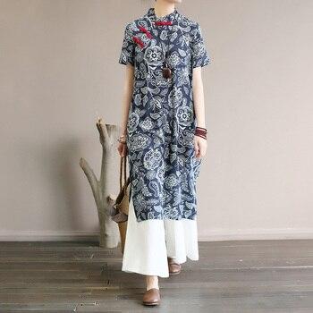 Платье в китайском стиле с улучшенной пряжкой в стиле ретро, Летнее Длинное платье с коротким рукавом 2