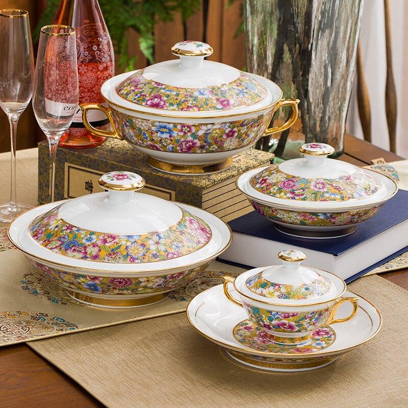 Ensemble de vaisselle fait à la main | Vaisselle de palais de luxe chinois haut de gamme incrustée d'or, émail impérial rétro et porcelaine haute couleur blanche