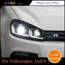 JAEL светодиодный фонарь для Golf 6 MK6 фара 2009-2013Year светодиодные фары DRL ходовые огни Биксеноновые лучевые огни ангельские глазки