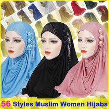 muslim woman jersey amira instant hijab caps malaysian headscarf bonnet crinkle khimar head scarf cover hat islamic clothing new