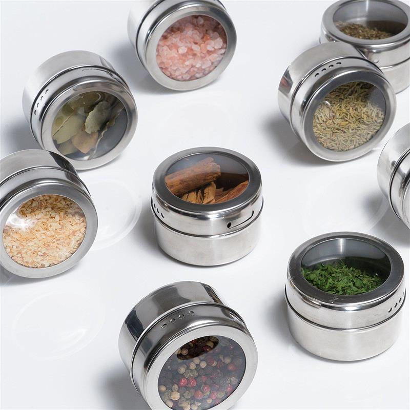 Spice-Jars Labels Storage-Box Seasoning Magnetic Stainless-Steel Cans Pepper Transparent-Lid