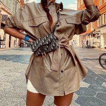ZXQJ-Blusa de piel sintética con cinturón para verano, camisa femenina de manga larga con botones, Estilo Vintage, 2020