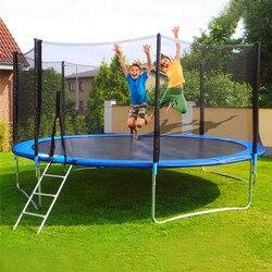 12 قدم الاطفال الأطفال الكبار المنزل داخلي الترامبولين مع كبير السلامة الضميمة صافي القفز حصيرة و غطاء الربيع الحشو في الهواء الطلق # g3