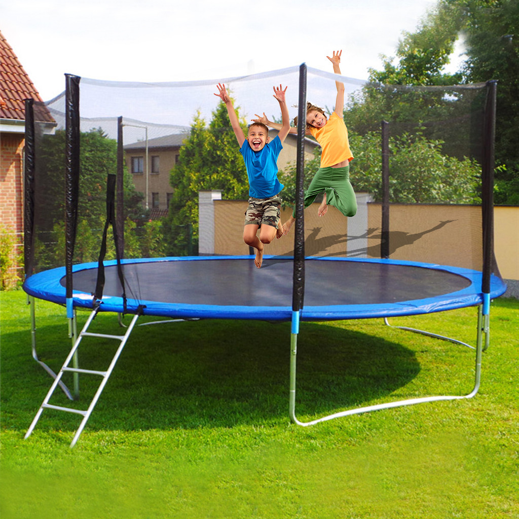 12 FT Kids Children Adult Home Indoor Trampoline With Large Safety Enclosure Net Jumping Mat And Spring Cover Padding Outdoor#g3