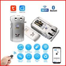 Wafu-cerradura de puerta inalámbrica con wifi, cerrojo inteligente con Control remoto, electrónica, sin llave, Control de teléfono, huella dactilar, 019