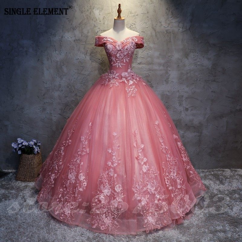 Long Prom Dresses 2020 Ball Gown Tulle Lace Appliques Masquerade Sweet 16 Dresses Party Dresses