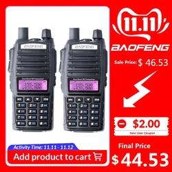 2 шт. 100% Baofeng UV-82 Двухканальные рации 10 км Dual Band 136-174/400-520 мГц FM ветчиной двухстороннее радио УКВ long range трансивер радиостанция рация автомобиль...