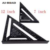 Drafting Tools Triangular Measuring Ruler 7 Inch Metric/Metric Aluminum Alloy Speed Square Roofing Triangle Protractor