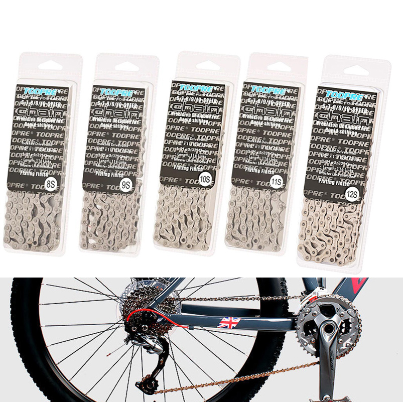 Bike Bicycle Chain 8 9 10 11 12 Speed Velocidade 116 Links Plating Silver Bicycle Parts for MTB Mountain Bike 24 27 30 33 Speed