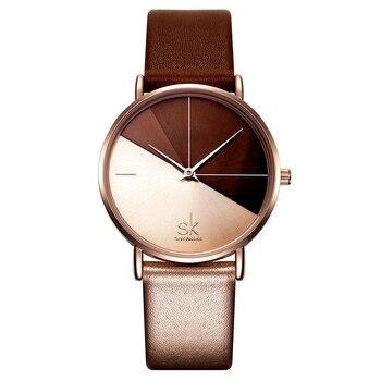 Shengke Women's Watches Fashion Leather Wrist Watch Vintage Ladies Watch Irregular Clock Mujer Bayan Kol Saati Montre Feminino