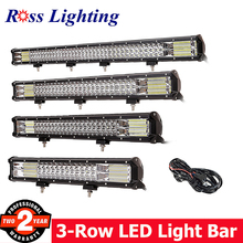 купить 3-Row Off road LED Work Light Bar 20 22 28inch LED Bar 288W 324W Light Bar for Tractor 4x4 Truck SUV ATV 12V Combo Driving Lamp в интернет-магазине