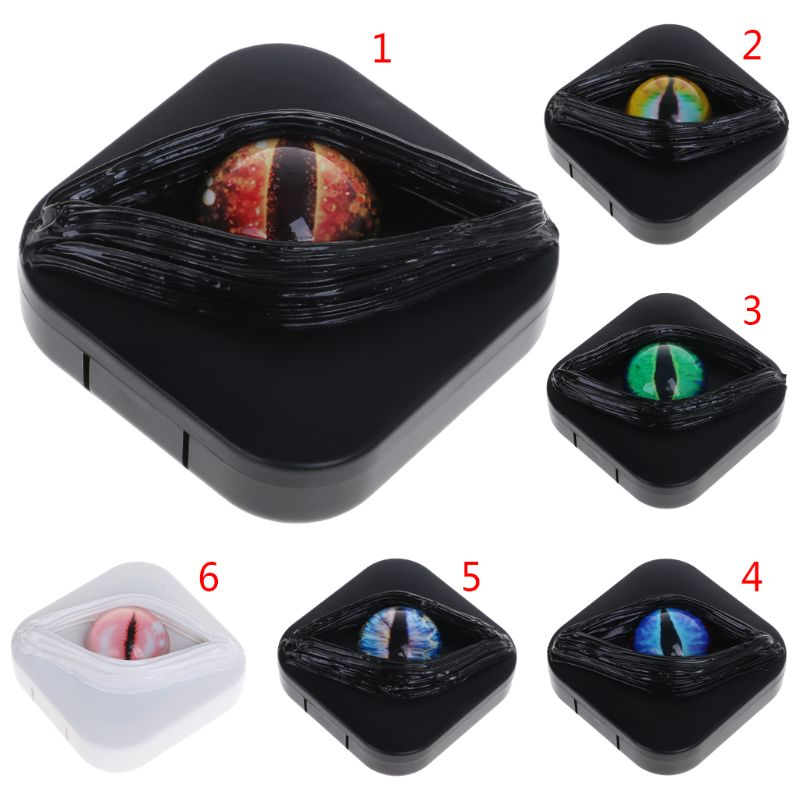 Contact Lens Case Fancy Halloween Gifts Eyes Personality Box Mirror Unique Storage Travel Portable Holder Boxes Lenses Care Kit