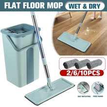 Reiniger Einfach Selbst Reinigung Trocken Nass Dual Gebrauch Waschbar Mopp Mopp Für Waschen Boden Hand-Freies Flache Rakel Mopp eimer Auswringen Boden