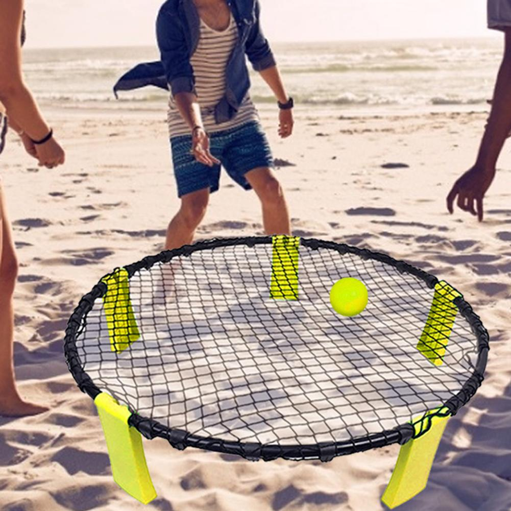 Beach Volleyball Training Auxiliary Game Set Leisure Inflatable Spiking Gas Rebound Jump Volleyball With 3 Balls 1Round Ball Net