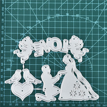 YaMinSanNiO Marriage Proposal Angel Metal Cutting Dies Card Making Scrapbooking Embossing Stencil Craft Frame Couple