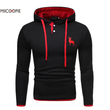 Miicoopie 2019 Mens Hoodie Simple Deer Print Pullover Sweatshirt