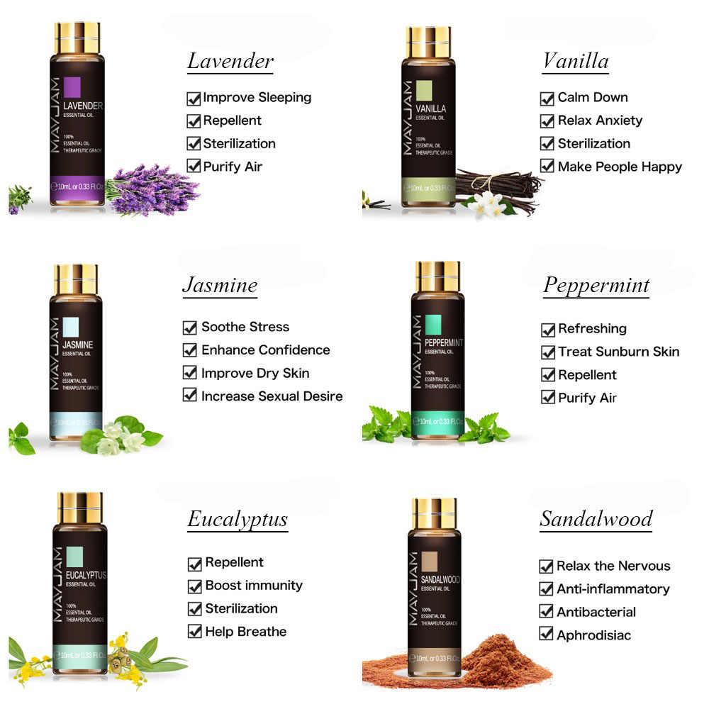 10ML Lavender Eucalyptus Pure Essential Oils Diffuser RoseมะนาวจัสมินวานิลลาSandalwood Bergamot Tea Tree Aroma Oil