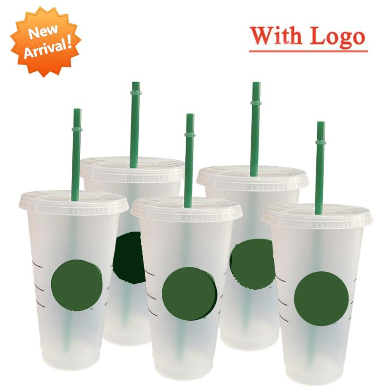 700ml Rainbow Straw Cup With Logo With Lid Coffee Cup Reusable Cups Plastic Tumbler Matte Finish Coffee Mug Tazas Dropship