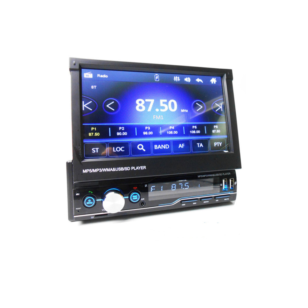 1 Din 7 inch Retractable Car Radio RDS Mirror Link MP5 Video Player Hands-free AM FM USB TF Aux Head Unit T100 image
