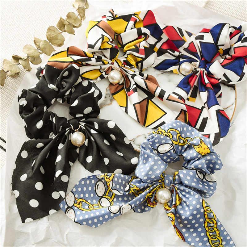 Mode été queue de cheval écharpe élastique cheveux corde pour les femmes cheveux nœuds papillon chouchous bandes de cheveux fleur impression ruban bandeaux