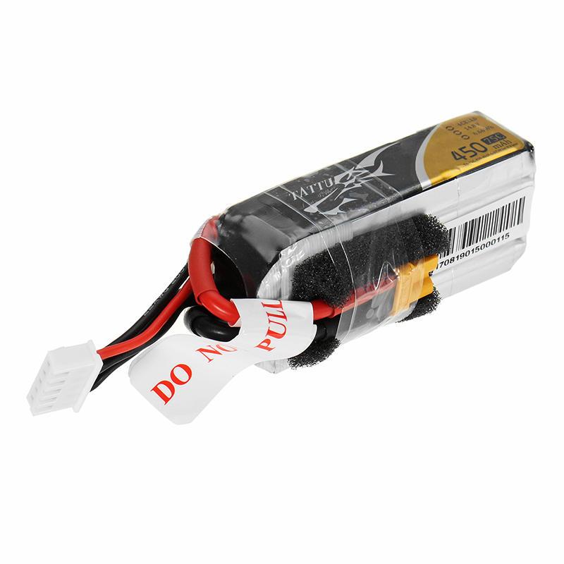 4PCS ACE Tattu 450mAh 75C 14.8V 7.4V 4S 2S Lipo Battery XT30 XT60 T Plug for RC FPV Racing Drone
