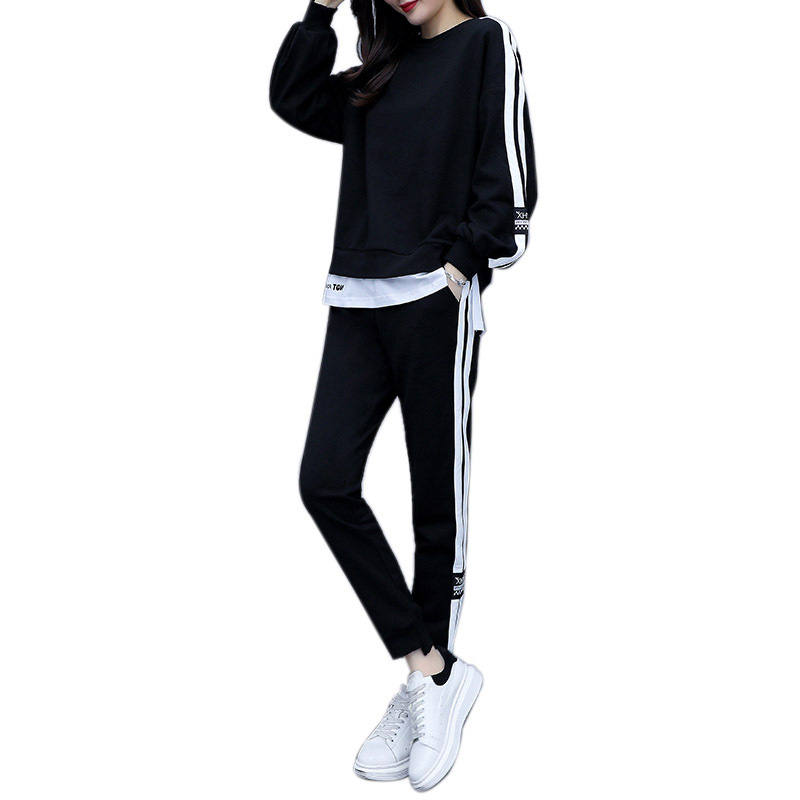 Rlyaeiz 2 Piece Set Women Sporting Wear 2019 Autumn Tracksuit Casual Fake Two Pieces Hoodies + Ankle-length Pants Sporting Suits