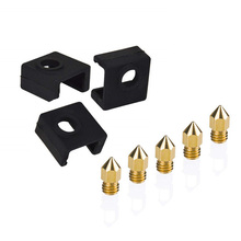 3pcs Heater Block Silicone Cover + 5x 0.4mm Nozzle For Creality Ender 3 CR-10S 3D Printer Part  Supplies Accessories