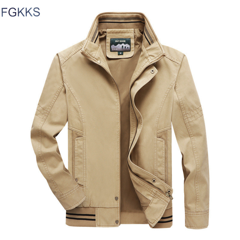 FGKKS Winter New Men Jackets Men's Military Style Solid Color Jacket Male Fashion Brand Stand Collar Jackets Casual Coat