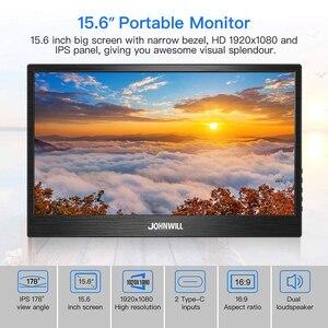 Image 3 - ポータブルモニター15.6インチ液晶usbタイプc hdmiゲームモニターips 1080 1080p hdディスプレイPS4ノートパソコンの電話xboxスイッチpcケース
