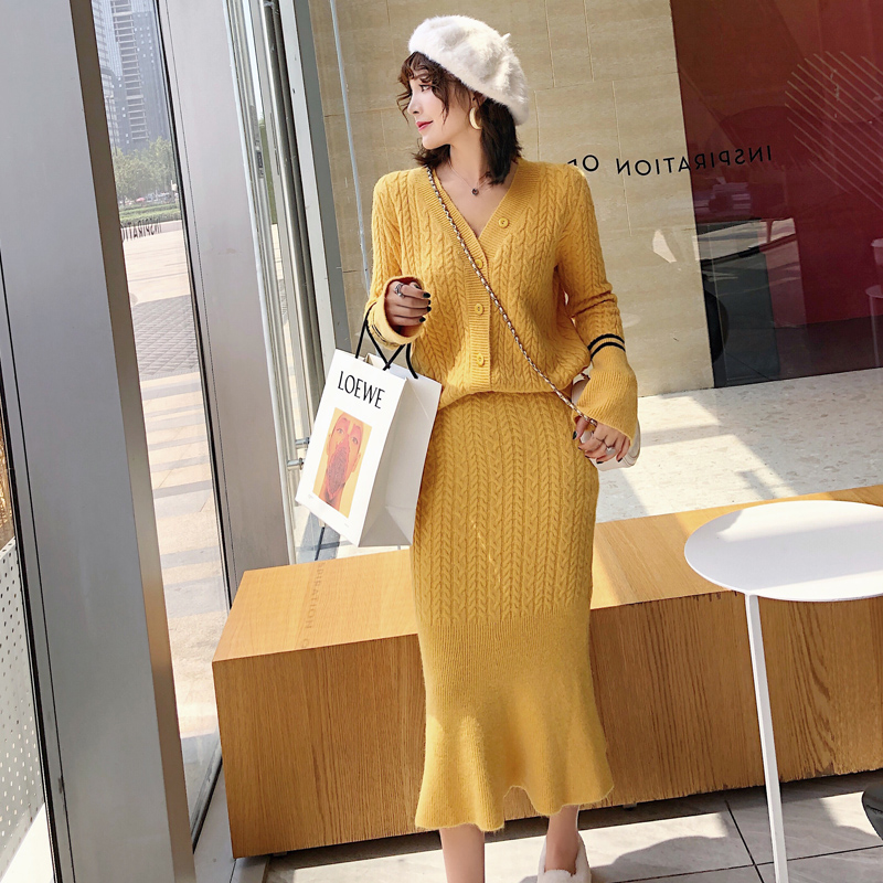 Knitted Women Two Piece Skirt Sets Suits Long Sleeve Cardigan And Mermaid Skirt Outfits Lady Runway Knitting Skirt Suits 2019 40