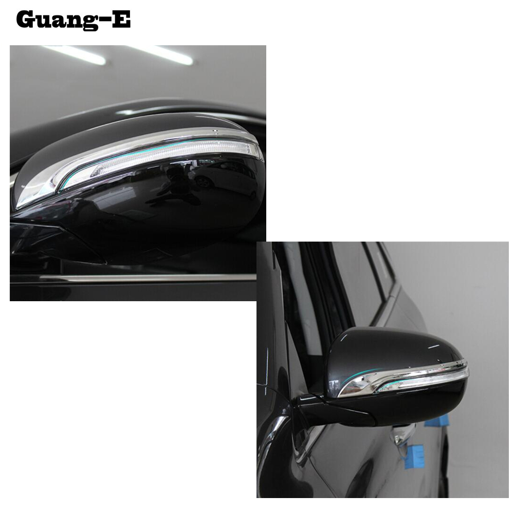 Car ABS <font><b>Chrome</b></font> Back Rear Eyebrow View Rearview Side <font><b>Mirror</b></font> Cover Stick Trim Frame Lamp Hood For <font><b>Kia</b></font> Sorento L 2015 2016 2017 image